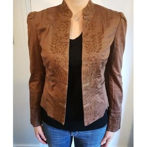 Embroidered Brown Cropped Jacket